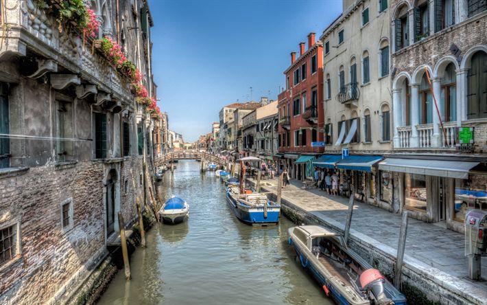 Lataa kuva Venetsia, kesällä, Venesatamat, Kanavat, veneet, Italia