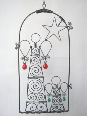 Wire Art Sculpture / Two Angels And A Star