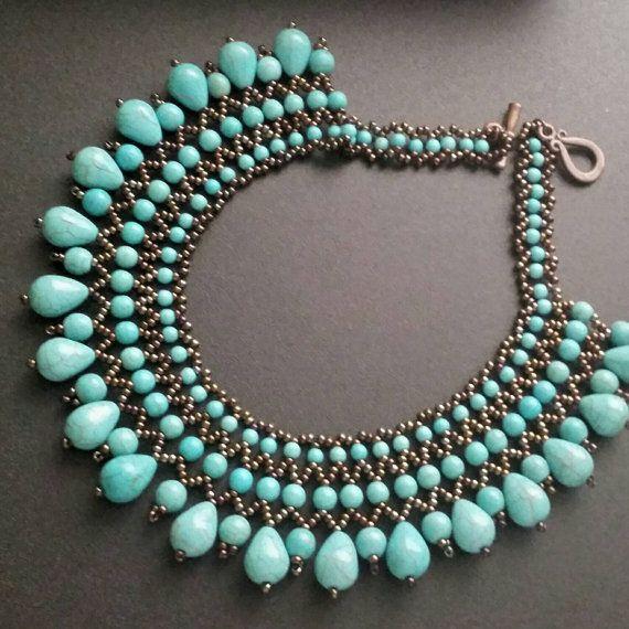 Turquaze Perlen Halskette Halskette Edelstein von INCISTYLE auf Etsy