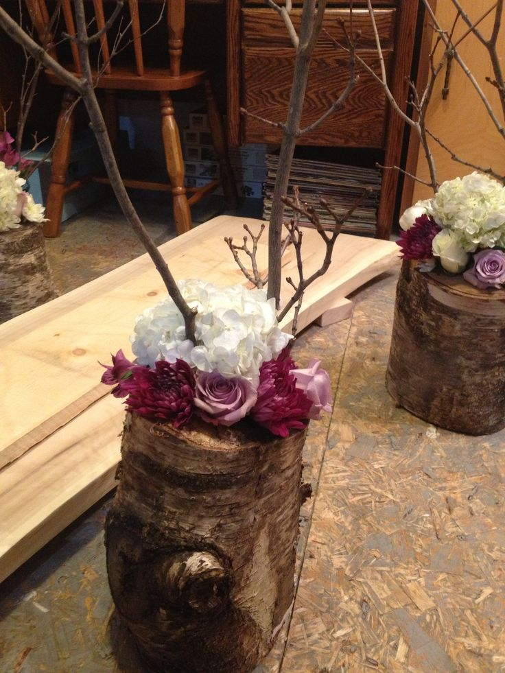 Tree centrepieces with flowers