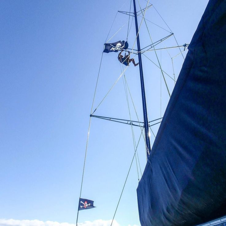 When one #pirateflag isn't enough  #sailwhitsundays #jollyroger #climbing #capturetheflag