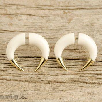 Fake Gauges Earrings Double Talon Bone Earrings with Golden Tip Gothic Tribal Style Buffalo White Bone Organic - FG077 BM G1