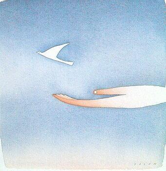 """Jean Michel Folon, """"La colomba della pace"""""""
