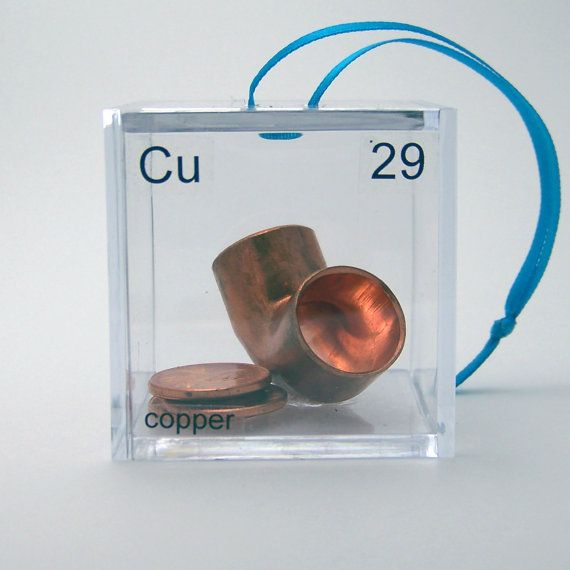 Copper - Periodic Table of Elements Cube Ornament. $12.50, via Etsy.