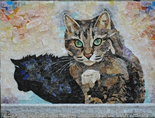 Luigi Perotti (Italian mosaicist, b. 1969) - Cat mosaic entirely handmade with pieces individually obtained from blocks and slabs - Polychrome marbles and precious stones