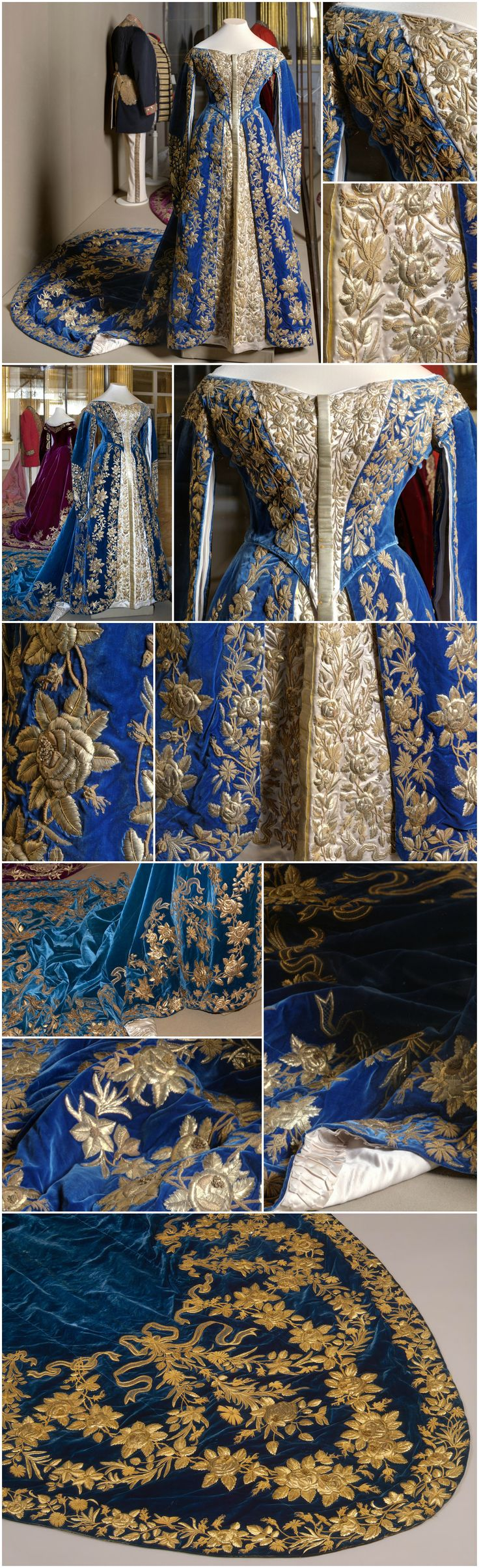 Ceremonial court dress belonging to Empress Alexandra Fyodorovna. Made by the workshop of O. Bulbenkova (?), St. Petersburg, Russia. Late 19th to early 20th centuries. Velvet, satin and gilded metal thread. State Hermitage Museum (links: https://www.hermitagemuseum.org/wps/portal/hermitage/digital-collection/08.+Applied+Arts/1263422/?lng=en, http://www.hermitageline.ru/ru/blog/view/bal). Other photos are via Ghosts of Imperial Russia's Tumblr. CLICK FOR VERY LARGE, HI-RES IMAGES.