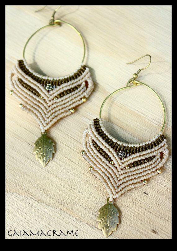 White Ceremonial Macrame Hoop earrings beautiful by GaiaMacrame