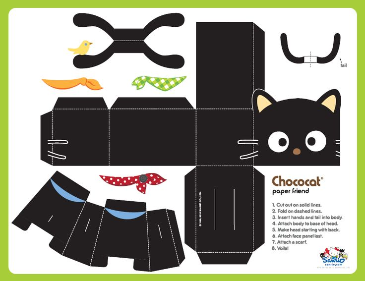 FREE printable chococat cat paper toy
