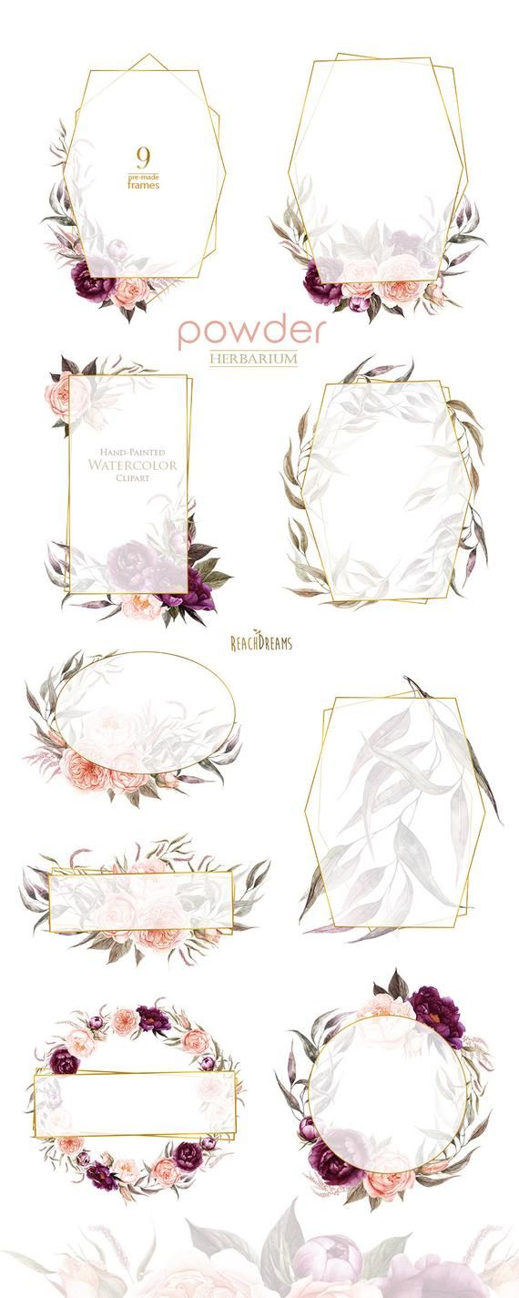 Peonies Flowers Watercolor, Roses, Floral Frames, Powder, Plum, Violet, Burgundy, Bridal, Boho clipart, Hand Painted Wedding, Digital png – Wedding Cards