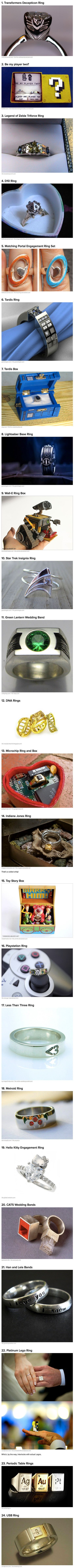 Here are some of the geekist engagement rings and wedding bands in the world.