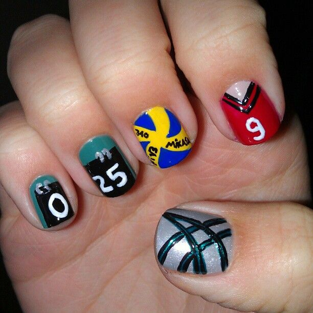 """@nailartinc's photo: """"Volleyball nails yay. I painted the score sheets, the pattern of the ball, my jersey (number 9 and 19 are my faves) and the style of my asics sport shoes."""""""