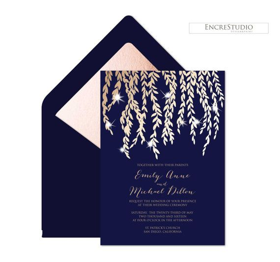 Amazing Midsummer Nightu0027s Dream Printable Wedding Invitation   Rose Gold And Navy  Wedding Invitation, Rustic Wedding Invitation