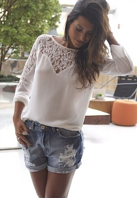White Long Sleeve Lace Hollow Blouse 9.99