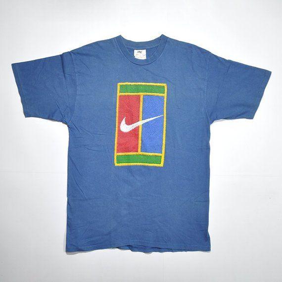 Rare Vintage 90s Nike Tennis Court Pete Sampras Supreme Court Andre Agassi Tshirt Challenge Big Logo Swoosh Tees Nike Tee Vintage Nike Nike Tees Mens Tshirts