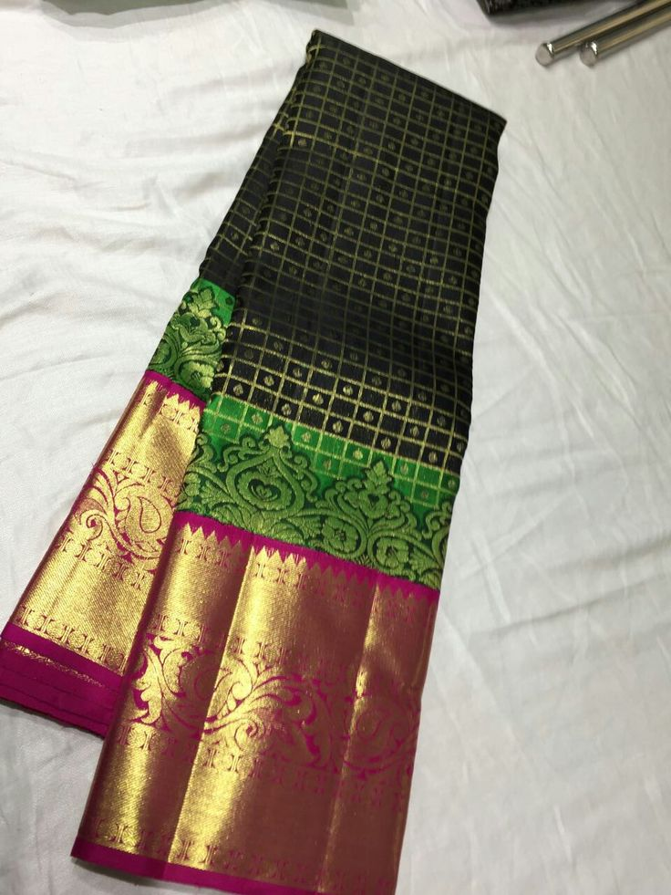 Pure Kanchipuram Handloom Silk with double side stitching border and fancy borde... 17
