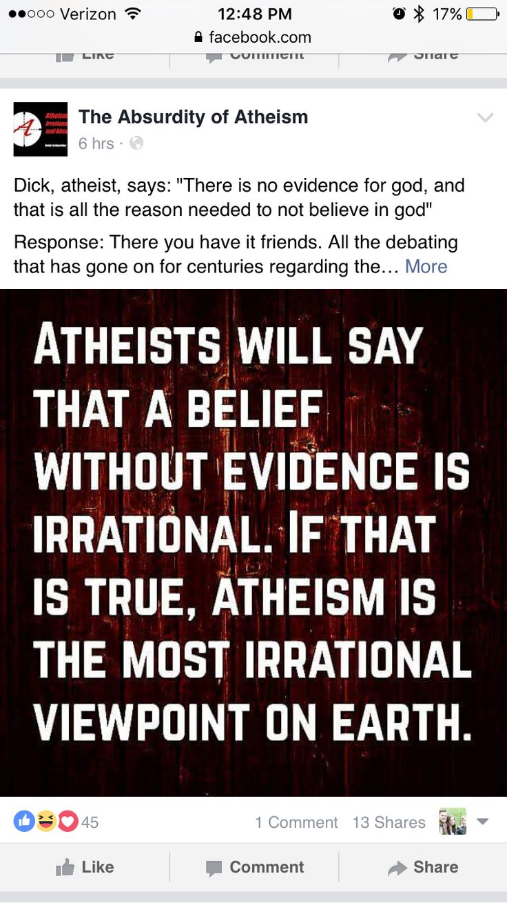 Atheism is belief without evidence. Irrational