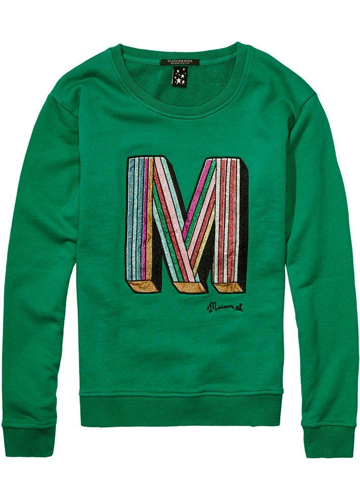 Maison Scotch Sweatshirt grøn 102091 Crewneck Clubhouse Sweat - emerald green – Acorns
