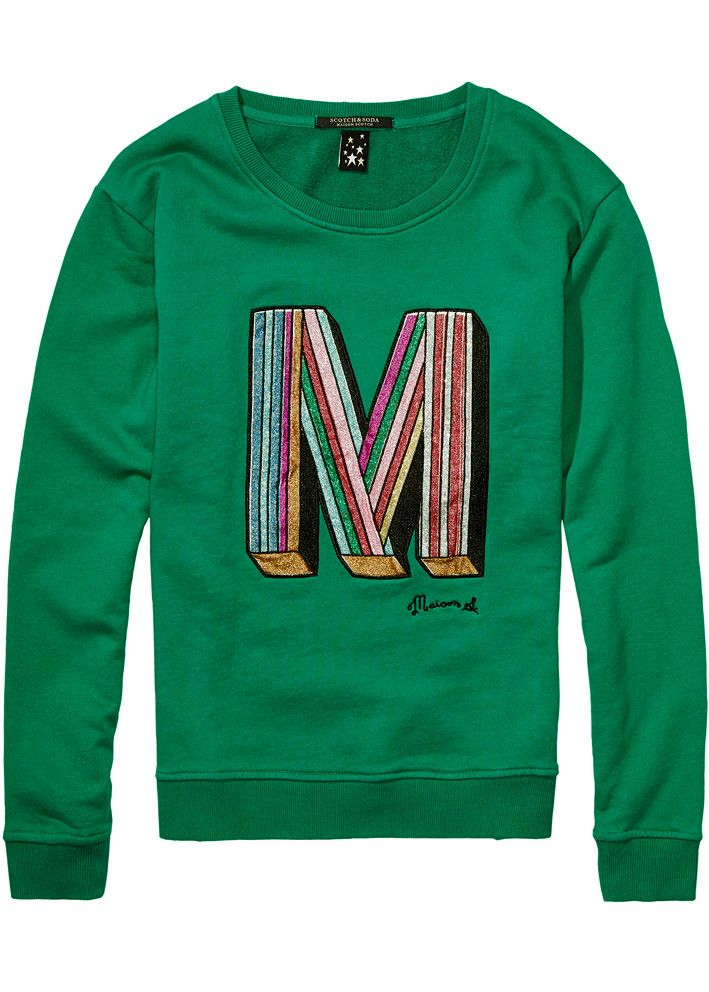 Maison Scotch Sweatshirt grøn 102091 Crewneck Clubhouse Sweat - emerald green – Acorns