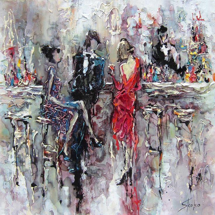 Flirt au bar par Skoko, artiste présentement exposée aux Galeries Beauchamp. www.galeriebeauchamp.com