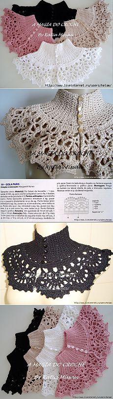 Tejido crochet cuello, necklace Aжурный воротник крючком Paris!.