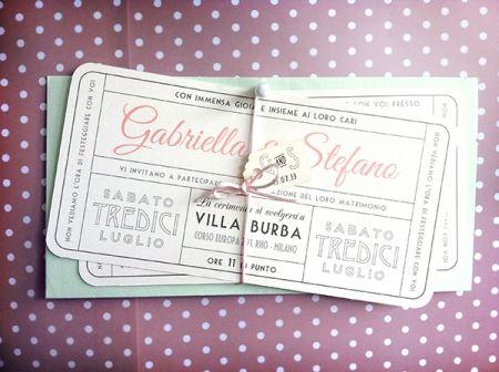 vintage ticket wedding invitation
