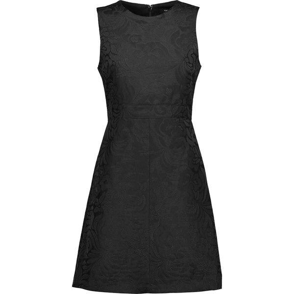 Theory - Raneid Jacquard Mini Dress ($198) ❤ liked on Polyvore featuring dresses, black, short dresses, tailored dresses, workwear dresses, jacquard dress and theory dresses