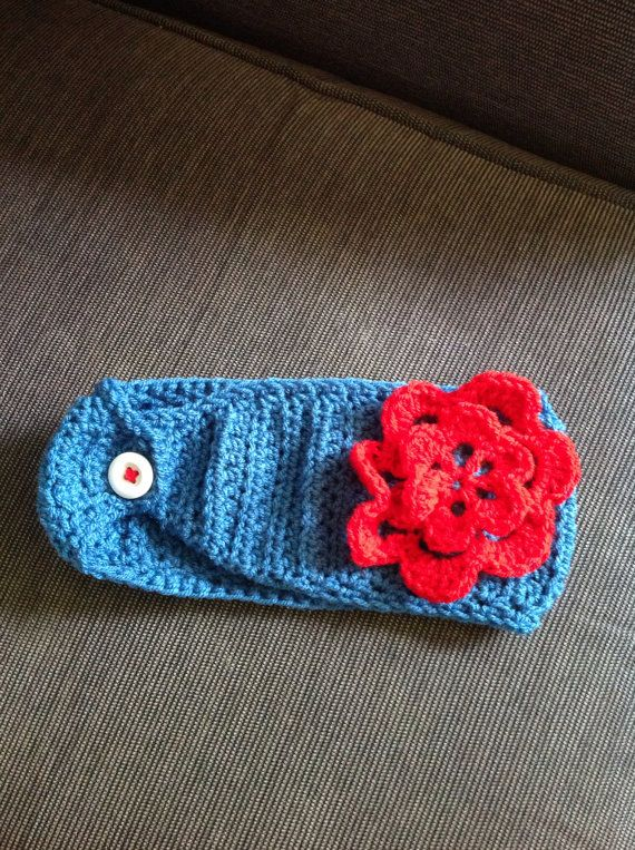 Crocheted head wrap / hair band with flower adult by mrsmcnair, ?8.00 ...