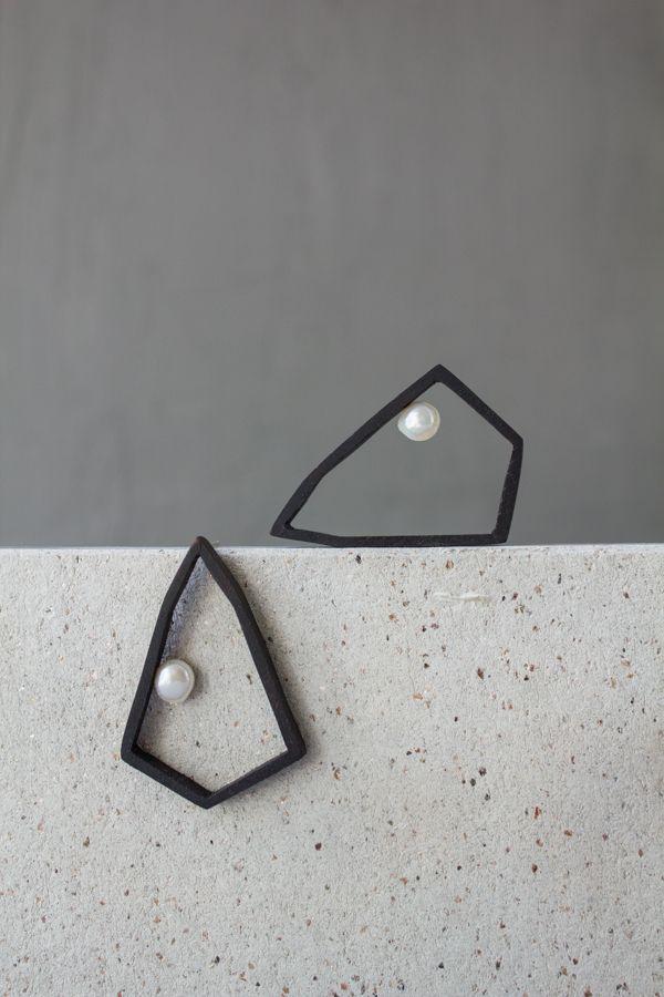 Tanuk Dolotova #contemporaryjewelry #earrings #wood #pearl #handmadejewelry…