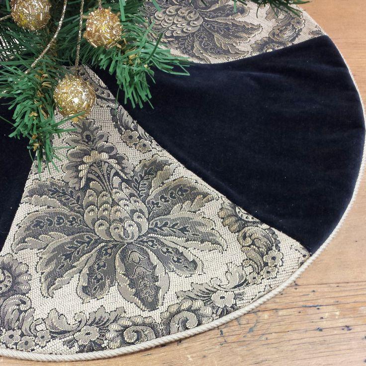 Velvet & Chenille Mini Christmas Tree Skirt, small tabletop black gold beige jacobean pineapple by FeeneyLane on Etsy