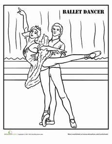 Ballet Coloring Page Worksheet