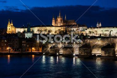 Prague castle and Charles bridge at night Royalty Free Stock Photo
