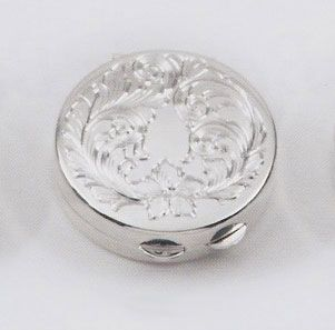 Round Sterling Silver Pillbox Leaf Design - Made in USA $129.25