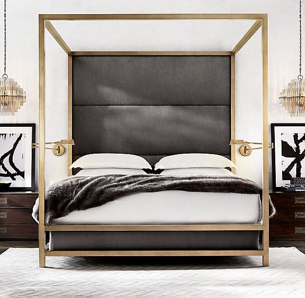 RH Modern's Montrose High Panel Four-Poster Bed:Inspired by the streamlined glamour of the late 20th century, our four-poster bed pairs a sleek, brass-finish metal frame with a padded headboard for a clean, angular silhouette.