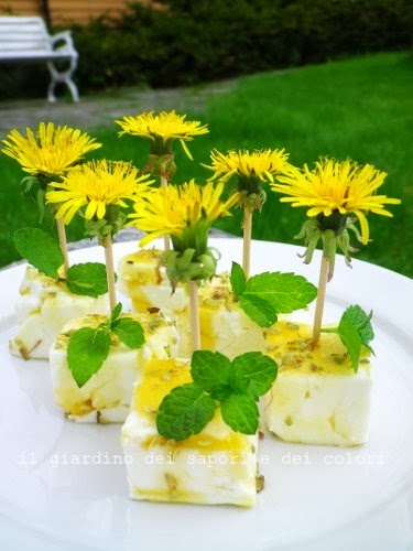 Chunks of feta cheese and dandelion syrup