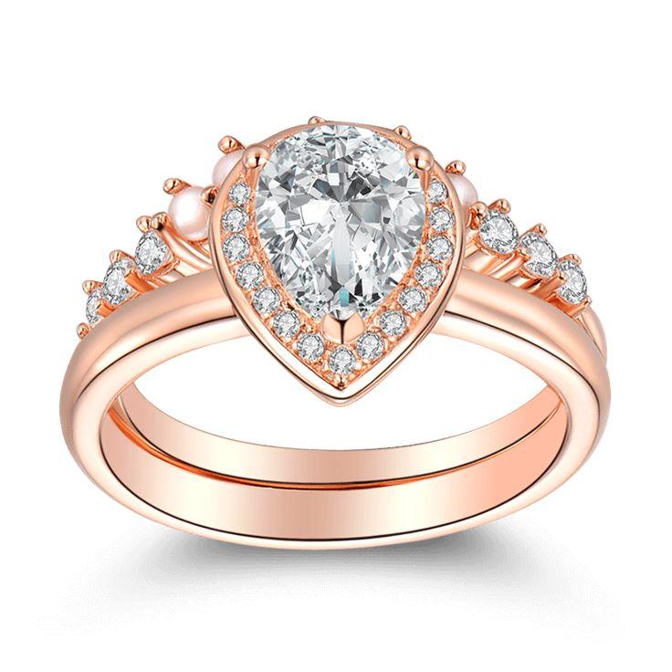 Female   Crown Of Love Wedding Ring Set Rose Gold. Engagement Rings Under  200Rose ...