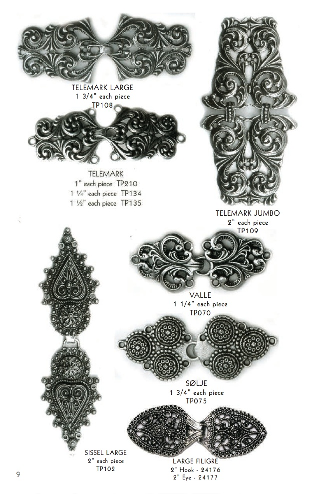 Norwegian pewter clasps