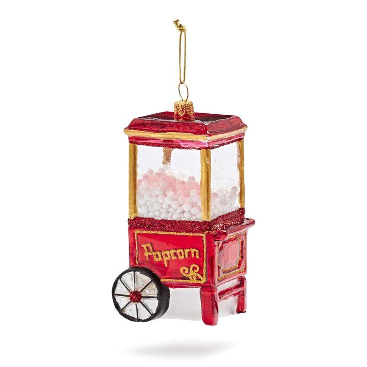 Vintage Popcorn Machine Glass Ornament | Sur La Table