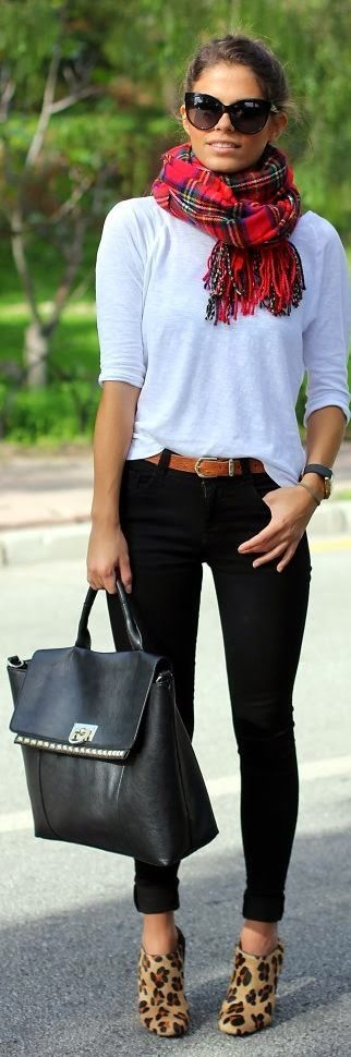 Black pants, white or light grey tee, colorful scarf and leopard shoes. Love this look