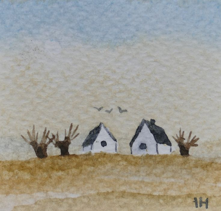 """Miniature watercolor landscape,""""Skåne"""" tiny  original painting by artist Ilse Hviid, tiny white houses and trees, soft blue sky by IlseHviid on Etsy"""