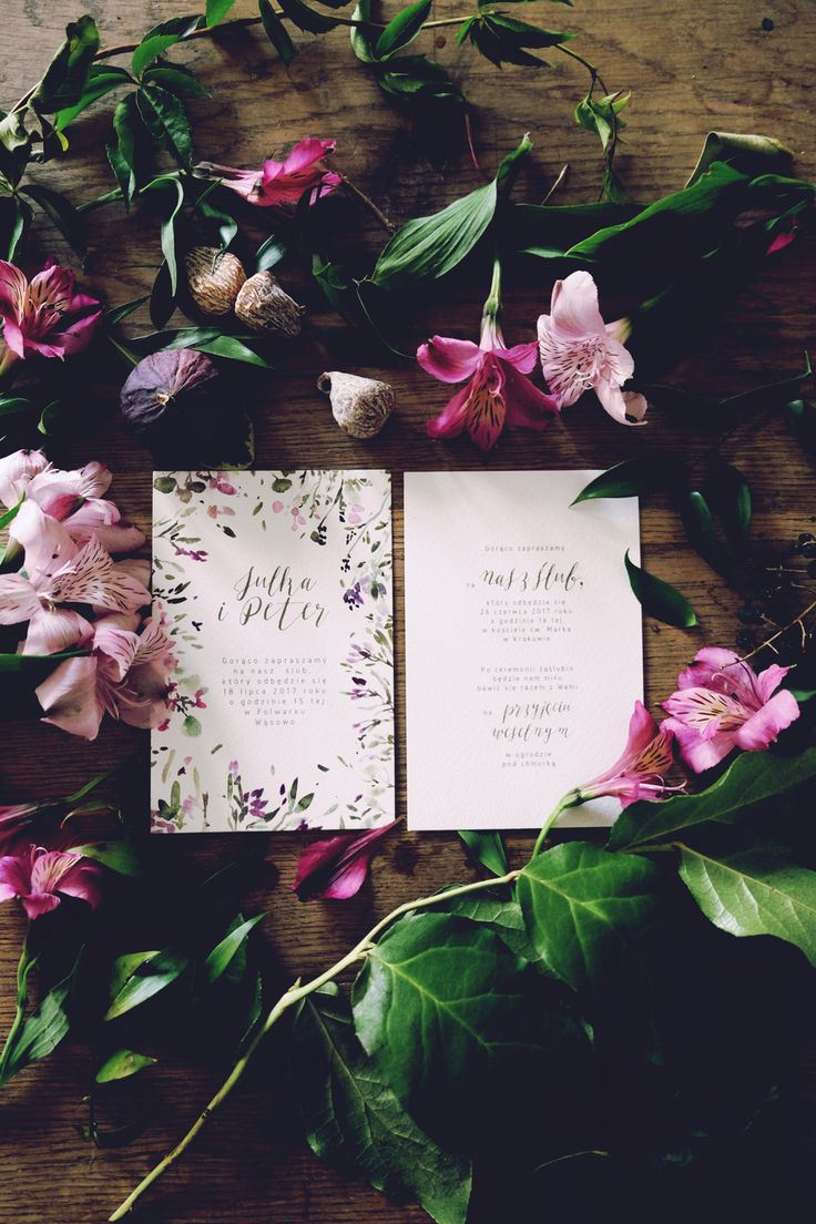 Floral watercolor wedding invitations, botanical stationery from Love Prints