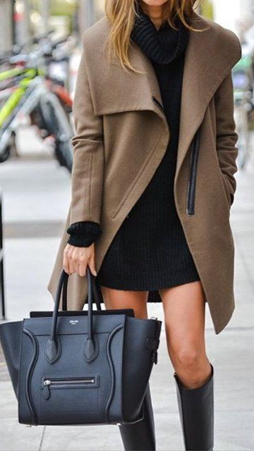 #outfit #ideas · Camel Coat // Black Dress // Leather Tote Bag // Knee Length Boots