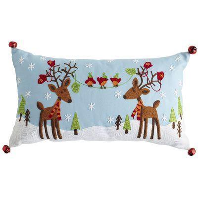 Great Christmas lumbar support pillow: Embroidered Reindeer Pillow seasonality Pinterest ...