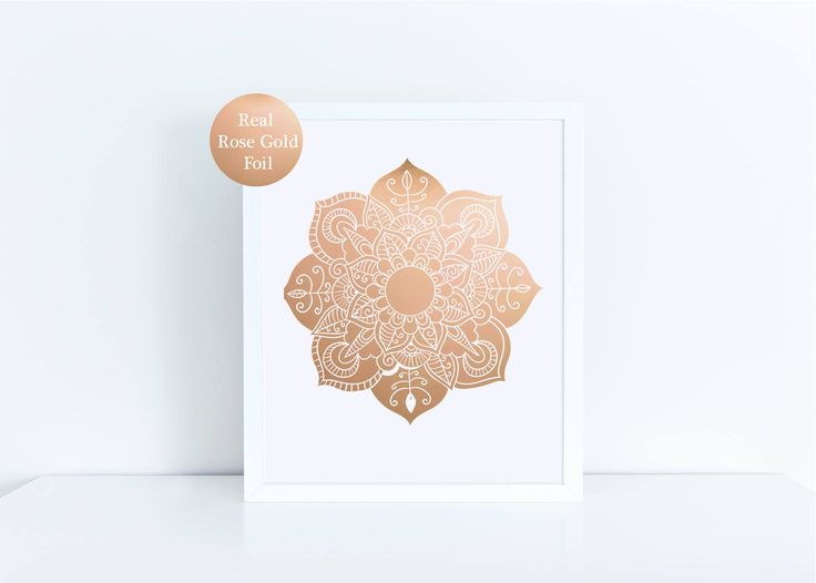 Real rose gold foil print / wall art rose gold foil print  Mandala print/ White & Gold Print / Mandala Wall Art by GlitzyPrints on Etsy