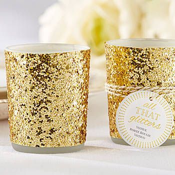 Our All That Glitters Gold Votive Candle Holder are candle holders that are wrapped in chunky gold glitter and wrapped in gold accented ropes and a tag. $14.99 for 4...could use these during Christmas also!