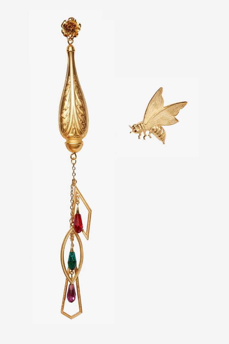 Honey Brass Bee & Drop Earrings by Rodarte ➤ Discover more luxury lifestyle news at www.covetedition.com @covetedition #covetedmagazine @covetedmagazine #luxurylifestyle #rodarte #jewellery