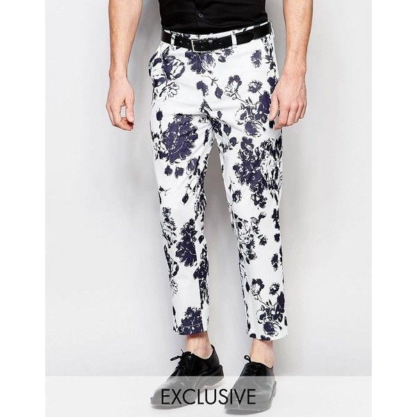 Reclaimed Vintage Skinny Pants In Floral Print ($65) ❤ liked on Polyvore featuring men's fashion, men's clothing, men's pants, men's casual pants, black, mens floral print pants, mens floral pants and mens skinny pants