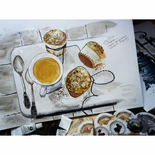 Tea time, still life watercolor painting.  Check out my Instagram @mpupuutt and tell me what you think :)