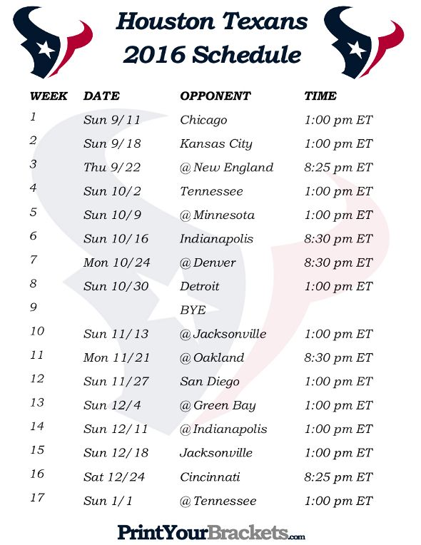 Printable Houston Texans Schedule - 2016 Football Season