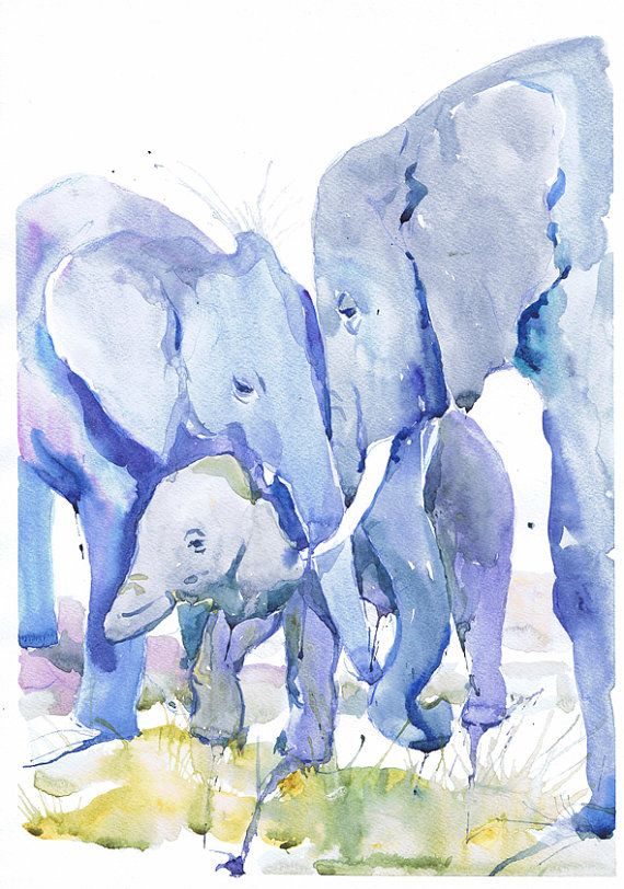 Elephant art, elephant watercolor painting, boy nursery decor, elephant nursery art print, elephant wall art, elephant painting, valrart Family of elephants high quality fine art print of my original watercolor painting. It is the work of a watercolor series Portraits of the Heart    Size paper: 14,8 × 21cm,5 4/5 × 8 1/4, A5 (with white borders) - 8.00 $  21 cm x 29,7 cm, 8 1/4 x 11.5/8, A4.(with white borders) - 18.00 $  29,7cm × 42cm, 11,69 × 16,54, A3(with white borders) - 36.00 $…