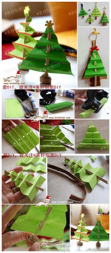 教你用纸一棵圣诞树~——更多有趣内容,请关注@美好创意DIY Arbolito navideño de papel (Navidad)